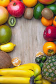 Composition of tropical fruits in the form of a frame — Stock Photo