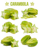 Set of six compositions carambola isolated — Stock Photo