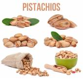 Set of six compositions pistachios isolated — Stock Photo