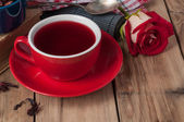 Tea with rosebud — Stock Photo