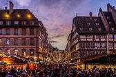 Crowds at Strasbourg Christmas Market — Stock Photo