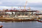 Football stadium being built — Stock fotografie