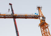 Setting Up A Tower Crane, Counter Jib Is Installed. — Stock Photo