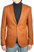 Brown mens suit jacket, male orange-brown blazer with patch. — Stock Photo