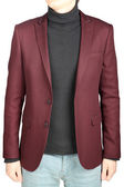Crimson mens blazer in combination with denim pants, on white. — Stock Photo