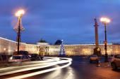 Saint-Petersburg, Russia Palace Square with a Christmas tree, night lighting. — Stock Photo