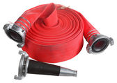 Red fire hose winder roll  roller, with coupler and nozzle. — Stock Photo