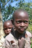Two black African tribe maasai children, siblings. — Stock Photo