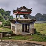 Masonry arbor pagoda in scenic farming area rural China, Guangxi — Stock Photo #72847423