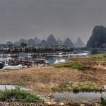 River ships pier on Lijiang River, Yangshuo, Guangxi Province, C — Stock Photo #72847433