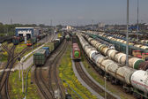 Railway yard with a lot of railway lines and freight trains. — Stock Photo