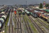 Freight trains ready to depart for shunting yard, Russia. — Stock Photo