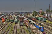 Marshalling yard cargo terminal of the Russian Railways, St. Petersburg. — Stock Photo