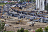 Building site,  construction viaduct transport interchanges, Russia, Saint Petersburg. — Stock Photo
