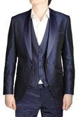 Unfastened navy blue weddings grooms attire, jacket suit, waistcoat — Stock Photo