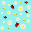 Bees and ladybugs flying of small daisies — Stockvektor  #53073039