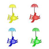 Seamless owls, flying under the umbrellas — Stock Vector