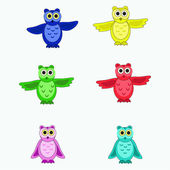 Six isolated multi-colored owls — Stock Vector