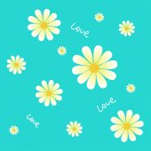 Seamless daisies on a blue background and the inscription Love — Vector de stock
