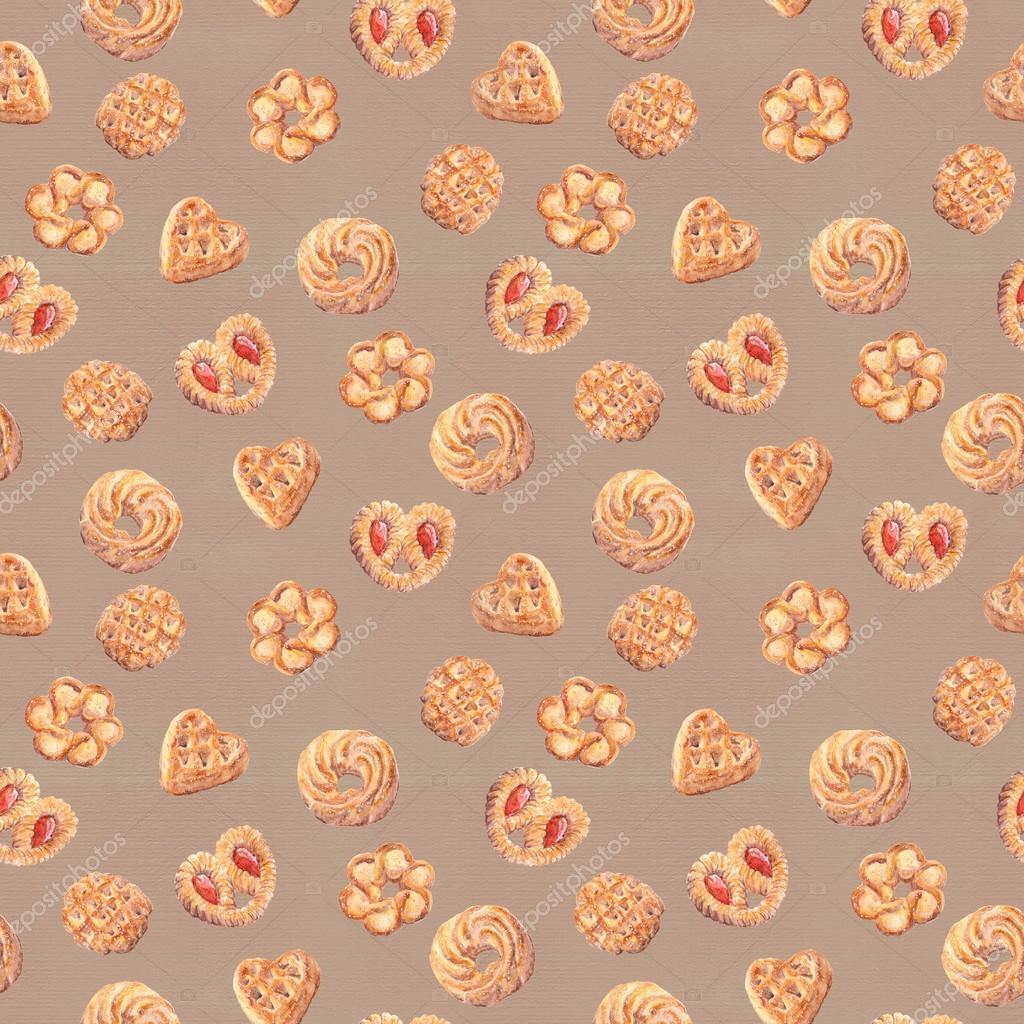 carta da parati senza giunte dei cookie. disegno di cibo isolato ... - Carta Da Parati Bianca Da Dipingere