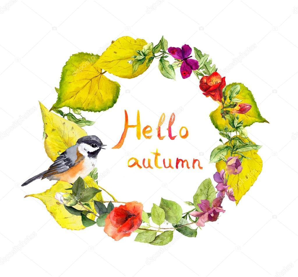 guirlande automne oiseaux des fleurs des feuilles jaunes floral fronti re aquarelle. Black Bedroom Furniture Sets. Home Design Ideas