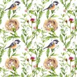 Pattern with herbs, bird and nest. Seamless watercolor — Stock Photo #54953111