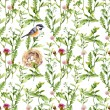 Pattern with herbs, bird and nest. Seamless watercolor — Stock Photo #54953129