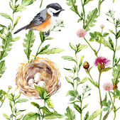 Pattern with herbs, bird and nest. Seamless watercolor — Stock Photo