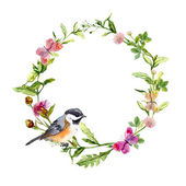 Wreath border frame with herbs, meadow flowers and butterflies. Watercolor — Stock Photo