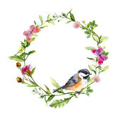 Retro wreath border frame with wild herbs, meadow flowers, bird and butterflies. Vintage watercolor — Stock Photo