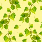 Yellow cheerful backdrop with spring green birch leaves — Photo