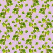 Seamless repeated pattern with botanical green leaves of birch — Photo