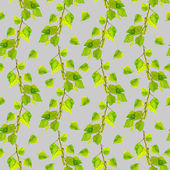 Gray seamless pattern with green fresh leaves of birch — Stock Photo