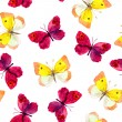 Seamless pattern with bright watercolor (aquarell) painted red and yellow butterflies on white background — Stock Photo #58109465