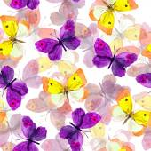 Seamless background with bright watercolor painted butterflies — Stock Photo
