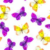 Seamless repeated wallpaper tile with violet and yellow watercolor drawing - butterflies on white background — Stock Photo