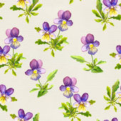 Seamless floral backdrop with violet viola flowers on linen texture — Stock Photo
