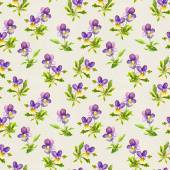 Botanical seamless backdrop with pretty violet viola flowers on paper texture — Stock Photo