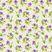 Vintage feminine seamless template with violet viola flowers on retro paper texture — Stock Photo