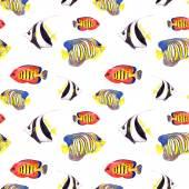 Экзотические рыбы (тропические рыбы). Повторяя бесшовные. Акварель — Стоковое фото