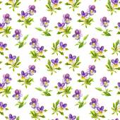 Seamless fabric design with exquisite violet viola flowers — Stock Photo