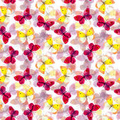 Seamless tiled pattern with bright and pastel watercolor hand painted cute butterflies — Stock Photo