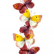 Seamless banner strip with beautiful butterflies isolated on white - watercolor painted drawing — Stock Photo #58392915