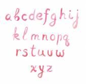 Pink handwritten font forenglish alphabet, low case — Stock Photo