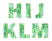 Fonte verde, script, com ornamento indiano Aquarela do laço — Fotografia Stock