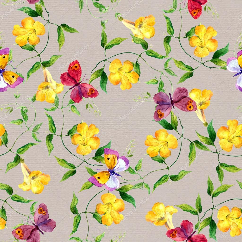 Цветок и бабочка акварель