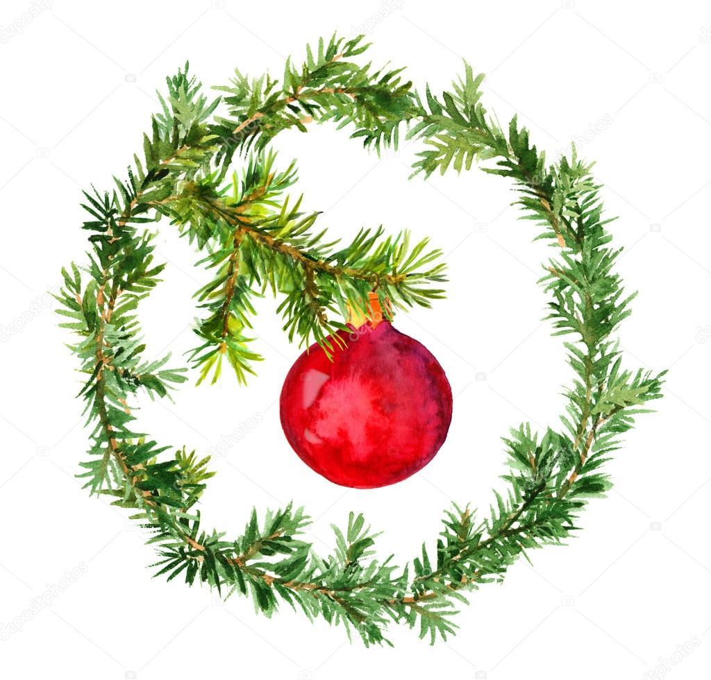 Boules Rouges De Noel Sur La Branche D&#39-arbre Verte De Sapin Photo ...