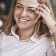 Woman in the morning at restaurant soft focus on eyes — Stock Photo #69574667