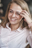Woman in the morning at restaurant soft focus on eyes — Stock Photo