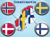Scandinavia map flag button — Stock Vector